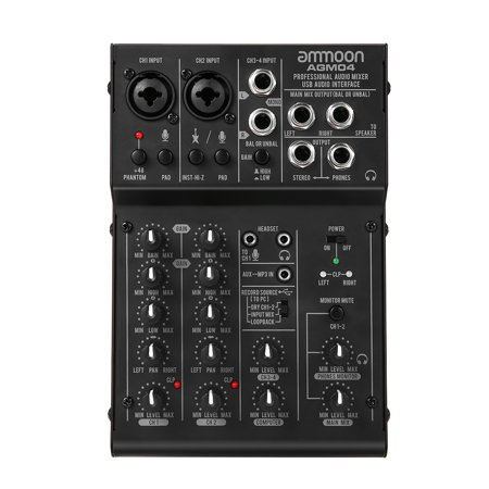 ammoon 4-Channel Mini Mixing Console Digital Audio Mixer 2-band EQ Built-in 48V Phantom Power 5V USB Powered for Home Studio Recording DJ Network Live Broadcast Karaoke (Digital Broadcast Recording)