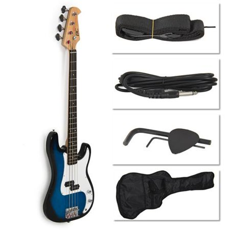 blue electric bass guitar includes strap guitar case amp cord and more. Black Bedroom Furniture Sets. Home Design Ideas