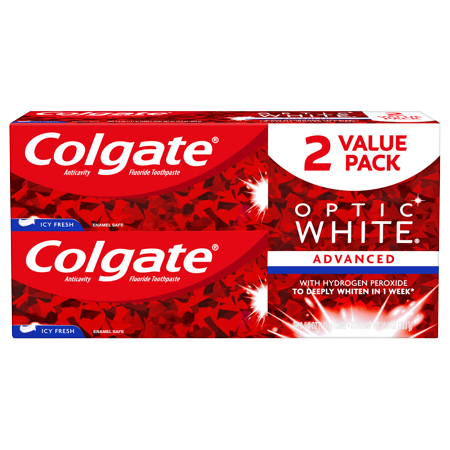 Colgate Optic White Whitening Toothpaste, Icy Fresh - 5.0 Ounce (2 Pack) ()