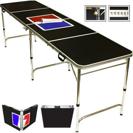 Sports Official Beer Pong Table, 8' with Bottle Opener, Ball Rack, and 6 Pong (Frat Beer Pong)
