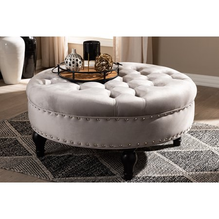 Baxton Studio Palfrey Transitional Grey Velvet Fabric Upholstered Button Tufted Cocktail Ottoman