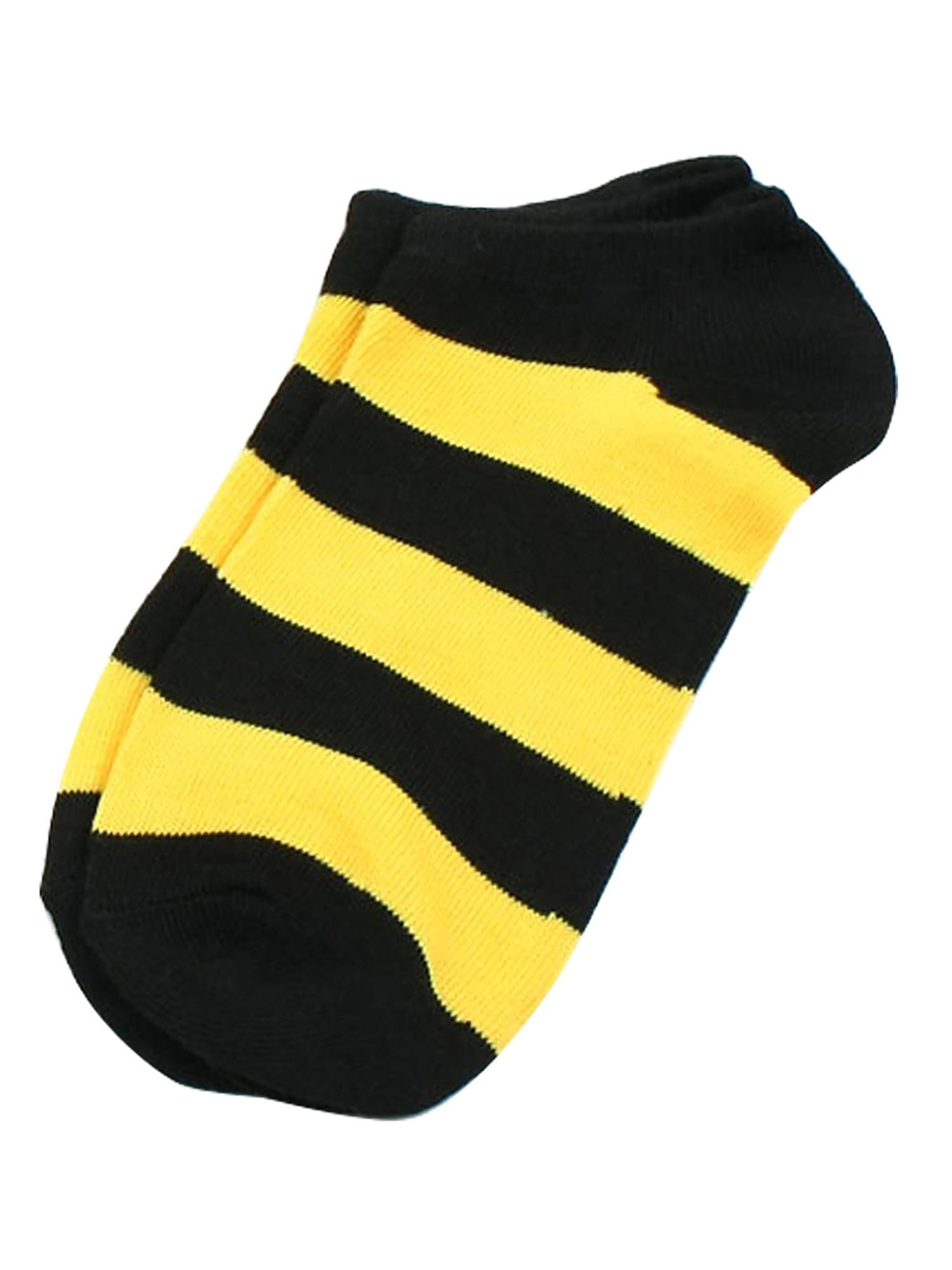 10 Pairs Girl Stripes Detail Elastic Footsie Style Low Cut Socks Yellow Black