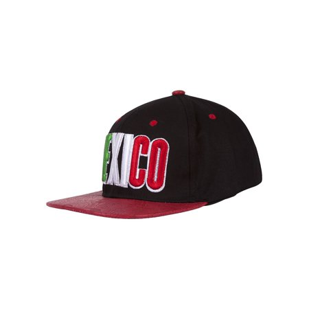 Mexico Country Snapback w/ Floral Flat Bill - Black/Red - image 1 de 2