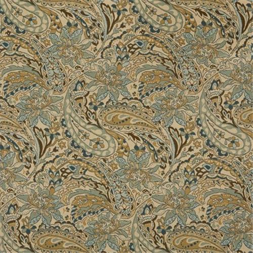 Designer Fabrics K0125A 54 inch Wide Tan, Beige, Brown And Teal Floral And Paisley Woven Solution Dyed Indoor & Outdoor