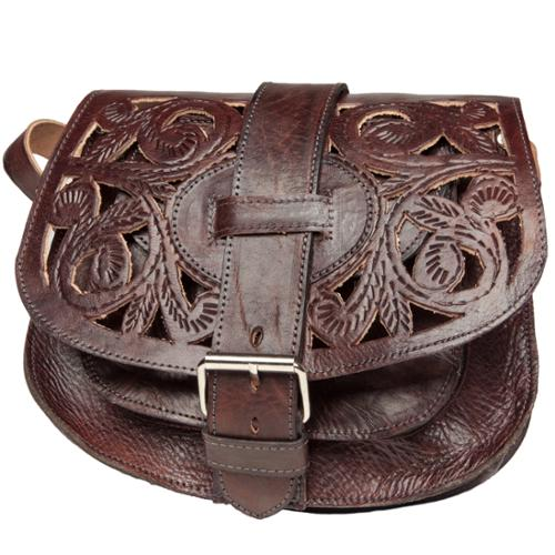 Moroccan Buzz Chocolate Cut-Leather Saddle Bag with Shoulder Strap (Morocco)