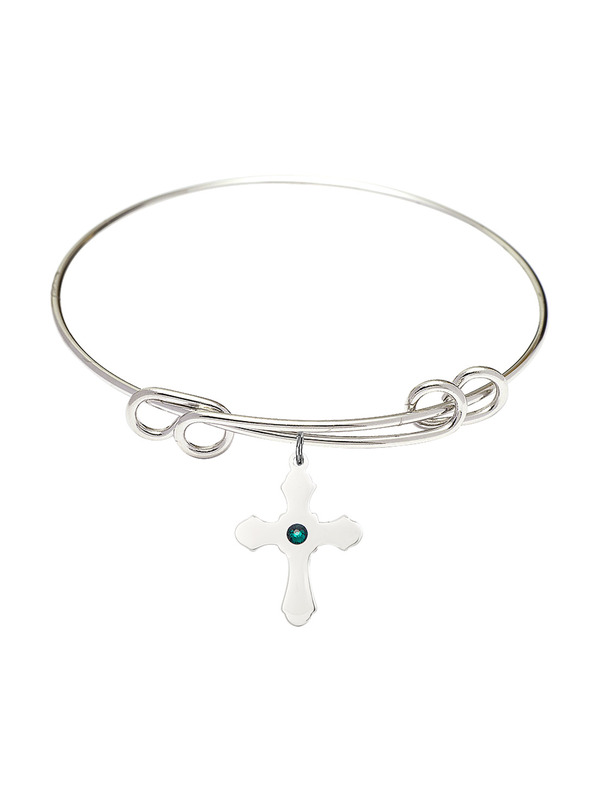 Cross Charm On A 8 Inch Round Double Loop Bangle Bracelet