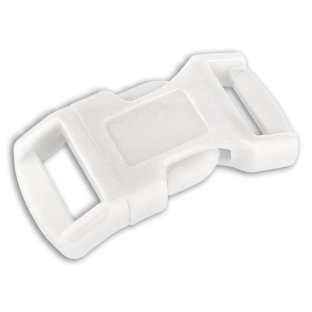 1/2 Inch White Economy Contoured Side Release Plastic Buckle (Contoured 3/4 Plastic Buckles)