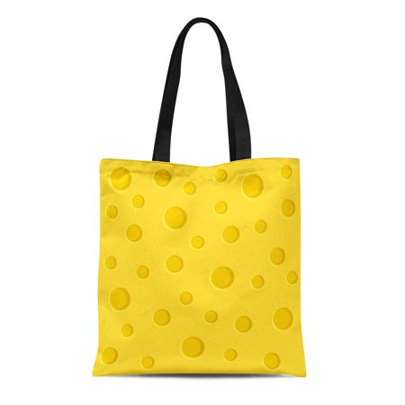 LADDKE Canvas Tote Bag Yellow Pattern Cheese Slice Swiss Cafeteria Breakfast Cartoon Cheddar Durable Reusable Shopping Shoulder Grocery Bag
