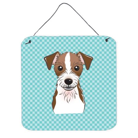 Checkerboard Blue Jack Russell Terrier Aluminium Metal Wall Or Door Hanging Prints, 6 x 6 (Jack Russell Terrier For Sale In Ny)