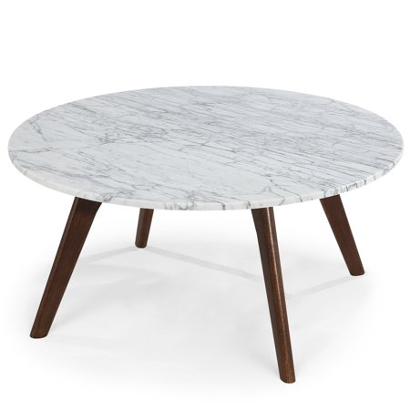 Poly and Bark Riley Marble Round Coffee Table in Walnut