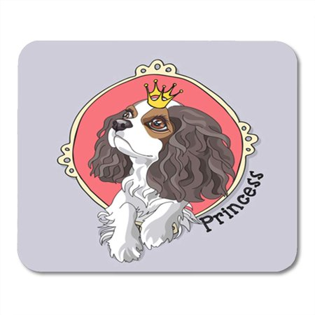 KDAGR Dog Cavalier King Charles Spaniel Puppy with Princess Crown in Pink Cute Adorable Attractive Mousepad Mouse Pad Mouse Mat 9x10 - Pink Princess Pad