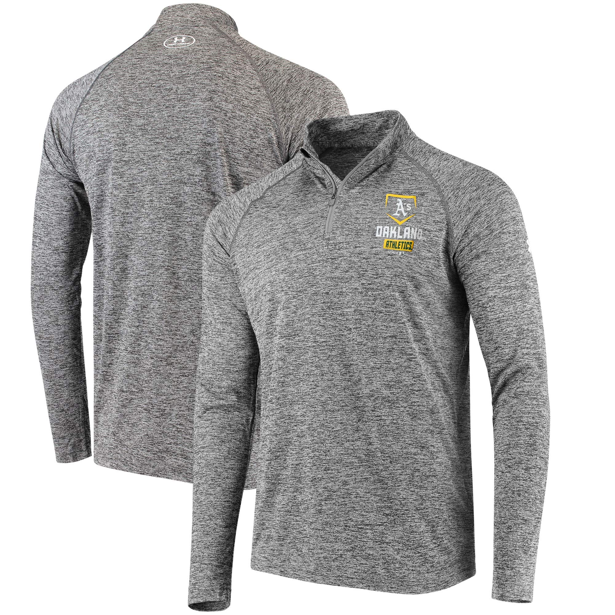 Oakland Athletics Under Armour Tech Quarter-Zip Performance Pullover - Charcoal