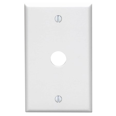 Leviton 88017 1-Gang .625-Inch Hole Device Telephone/Cable Wallplate, Standard Size, Thermoset, Box Mount, - Hole Device Telephone