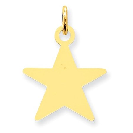 14k Yellow Gold Engravable Polished Star Disc Charm (0.9in long x 0.7in wide)