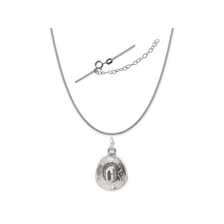 "Sterling Silver Antiqued Cowboy Hat Charm on a 0.90mm Box Chain Necklace, 18"" + 2"" Extender"