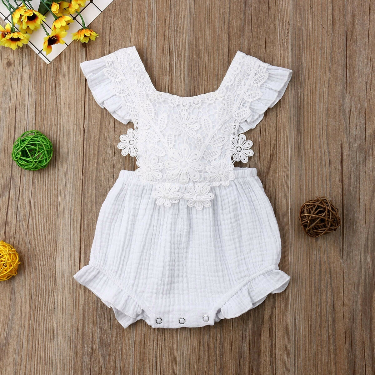Newborn Baby Girls Lace Princess Romper Bodysuit Jumpsuit Outfit Sunsuit Clothes