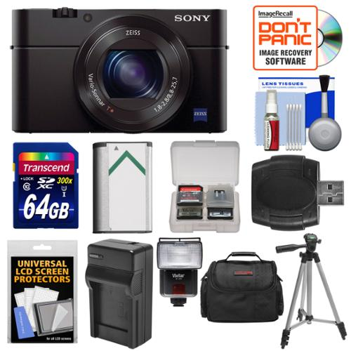 Sony Cyber-Shot DSC-RX100 III Wi-Fi Digital Camera with 64GB Card + Battery & Charger + Case + Tripod + Flash... by Sony