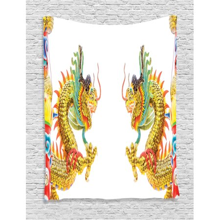 Dragon Tapestry, Chinese Style Dragon Statue Spiritual Power Asian Symbol Oriental Culture Theme, Wall Hanging for Bedroom Living Room Dorm Decor, Multicolor, by Ambesonne