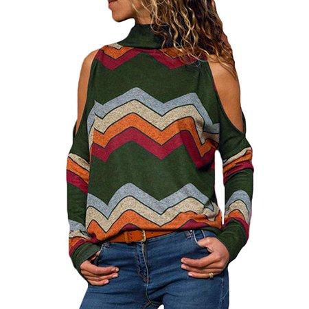 ea2481a798084 Freshlook - Women Fashion High Neck Cold Shoulder Blouse Long Sleeve Shirts  Top Winter - Walmart.com