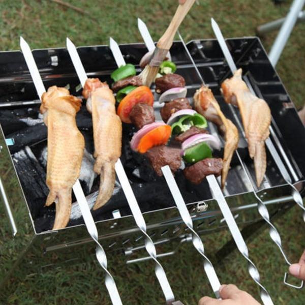 Vegetable Kebab 38cm Barbecue BBQ Meat 10 x Kitchen Metal SKEWERS