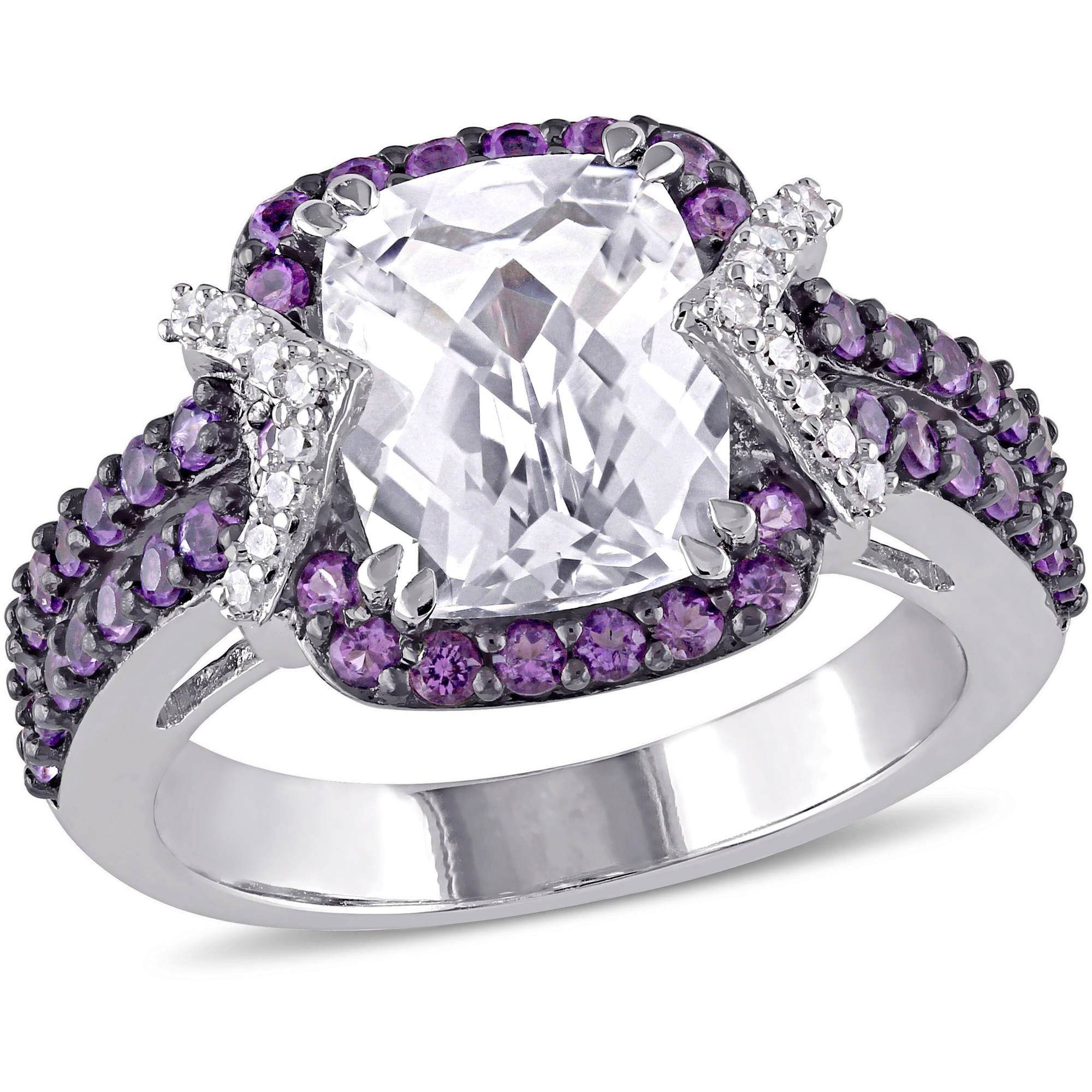 5-1/4 Carat T.G.W. Created White Sapphire and Amethyst with 1/10 T.W. Diamond Sterling Silver Halo Cocktail Ring