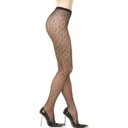 Adult  Womens Black Diamond Check Fishnet Costume Pantyhose