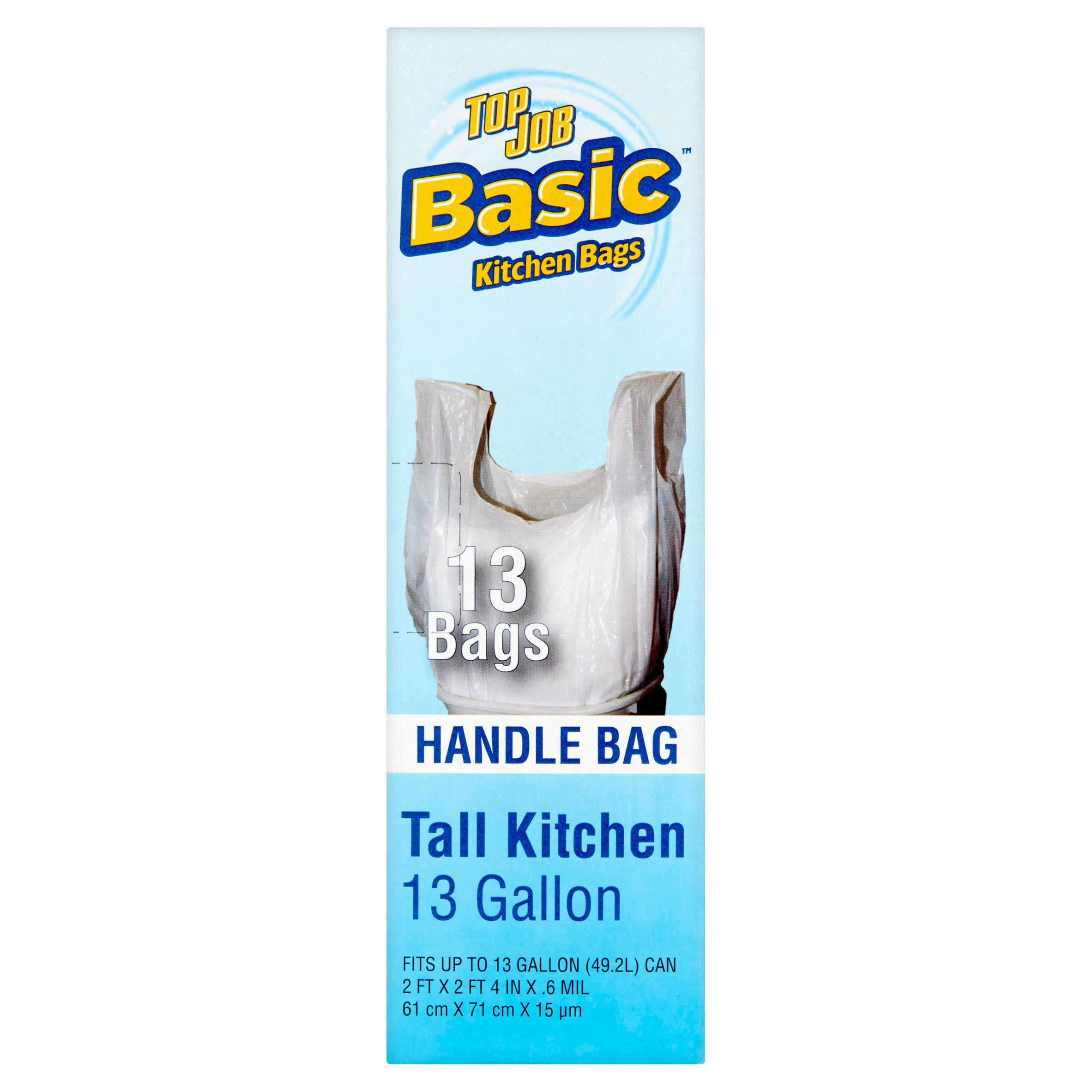 Top Job Basic Tall Kitchen Handle Bags, 13 count - Walmart.com