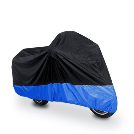 L 180T Black+Blue Motorcycle Bike Scooter Waterproof UV Dust Protector (150 Scooter Covers)