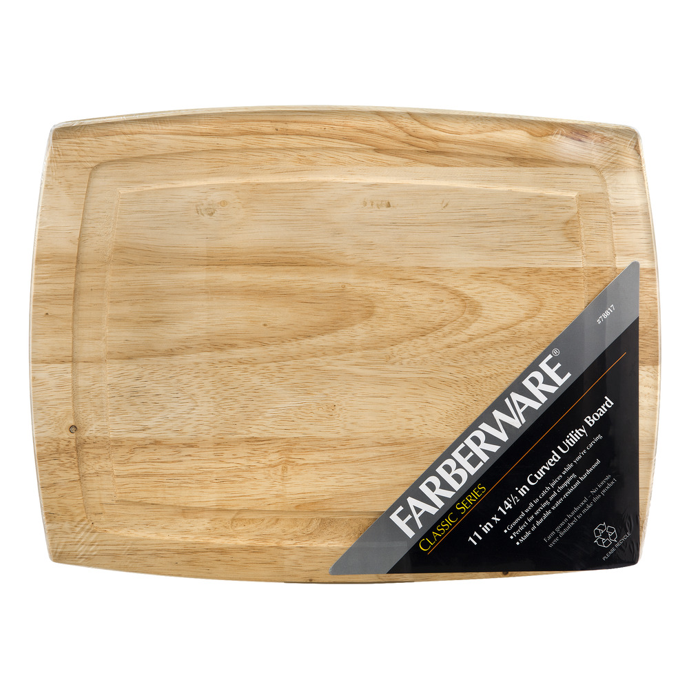 Farberware Classic Series 11 inch x 14 1/2 Inch Curved Hardwood Utility Cutting Board