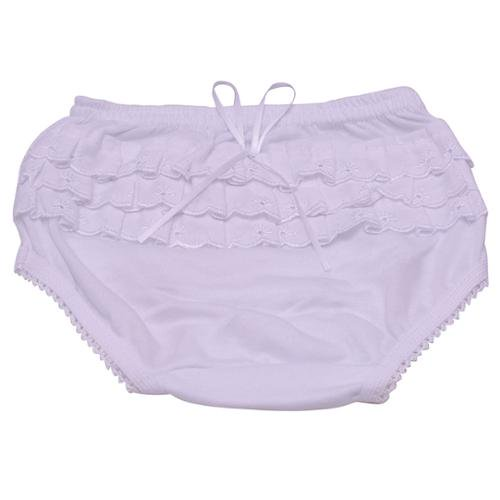 Piccolo Baby Girls White Embroidered Ruffle Detail Scallop Trim Underwear 12M