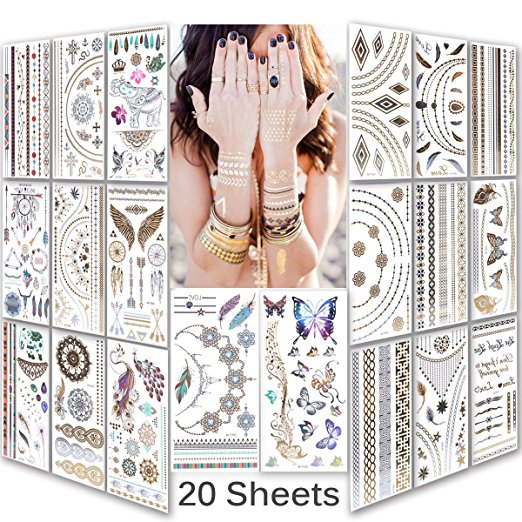 Lady Up Waterproof Mix Style Body art Temporary Tattoos Sticker paper,20-sheets