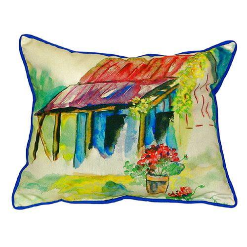 Betsy Drake Interiors Barn and Geranium Indoor/Outdoor Lumbar Pillow