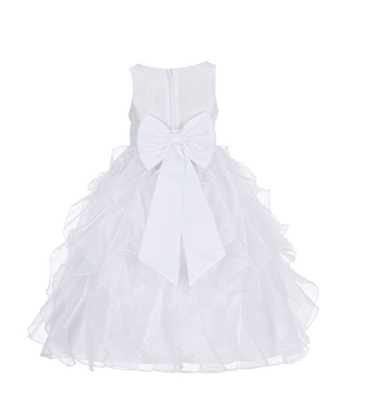 White Organza Ruffle Dress Holiday Baptism Communion Wedding Flower Girl#14