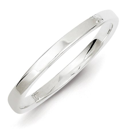 925 Sterling Silver Engravable 2mm Polished Flat Wedding Band Ring Size 10