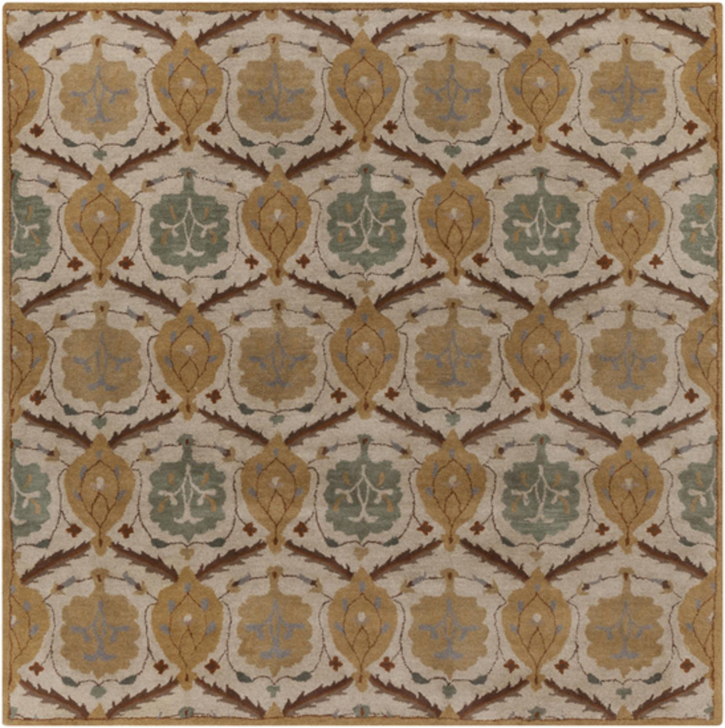 9.75' x 9.75' Costantina Khaki, Gray and Brown Hand Tufted Square Wool Throw Rug