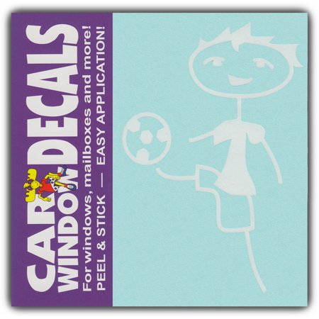 Car window decals boy kid child soccer ball family stick figures stickers