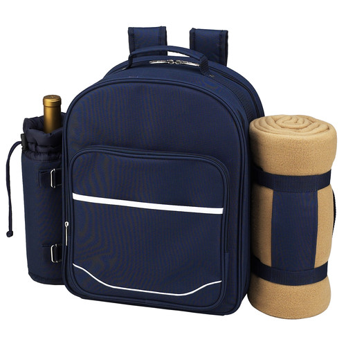 Picnic at Ascot Trellis Blue  Picnic Backpack for 4 with Blanket  (081X-TB)