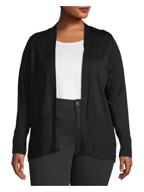 Heart & Crush Women's Plus Size Pointelle Stitch Cardigan