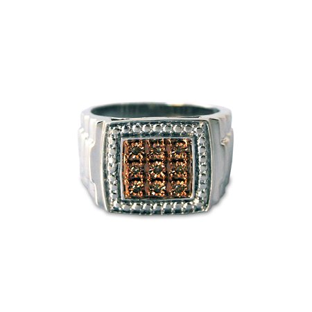 Men's Brown Diamond Accent Nine-Stone Sterling Silver (Cleveland Browns Ring)