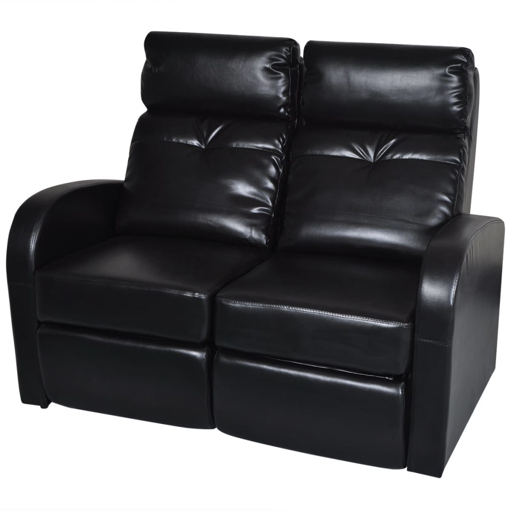 vidaXL Artificial Leather Home Cinema Recliner Reclining Sofa 2-seat Black