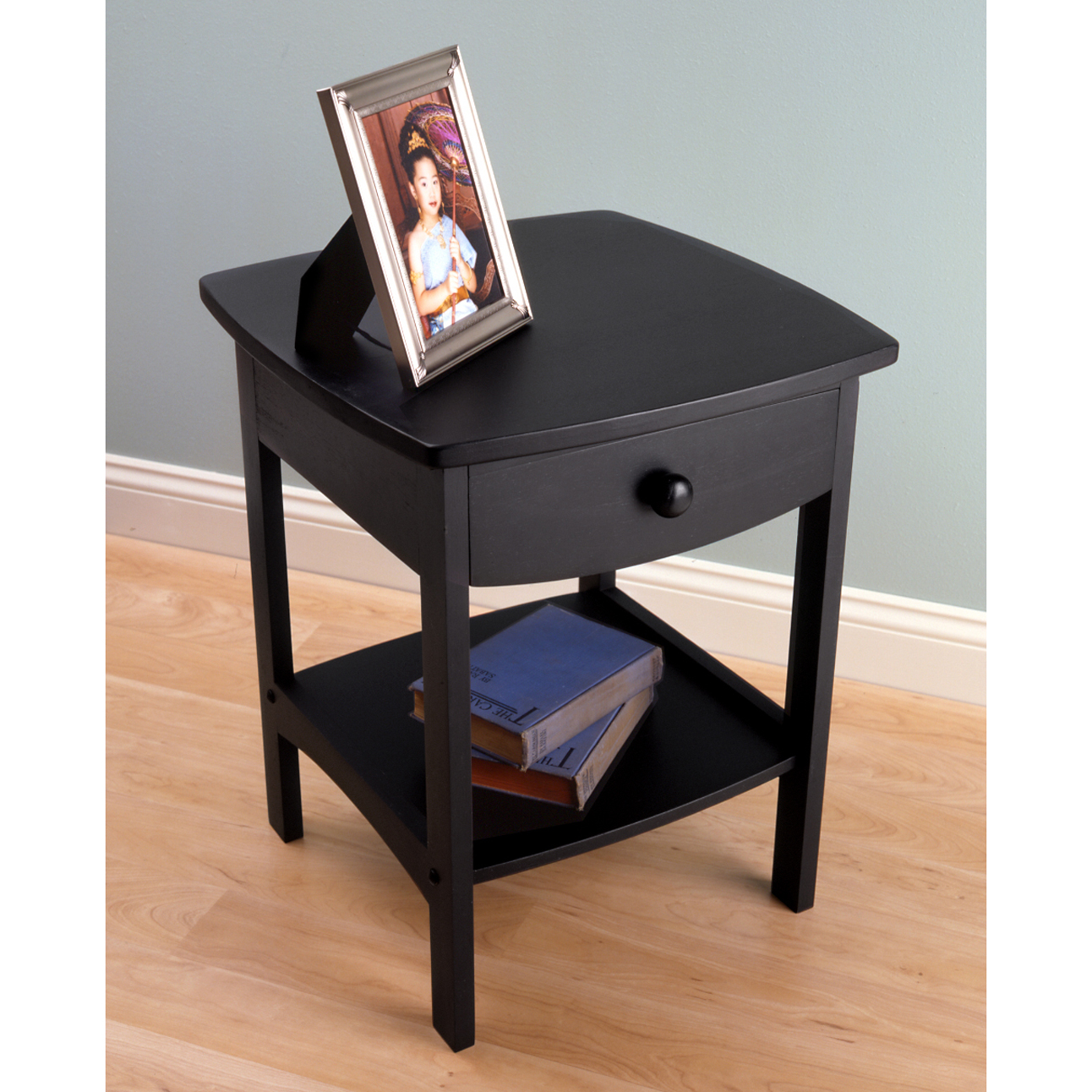 Winsome Trading Curved 1 Drawer Nightstand / End Table Image 3 Of 3