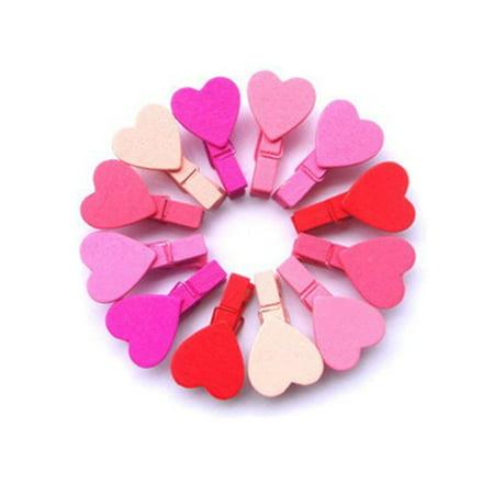 Heepo 12Pcs Mini Heart Love Wooden Clothes Photo Paper Peg Pin Clothespin Craft Clips (Photo Pins)