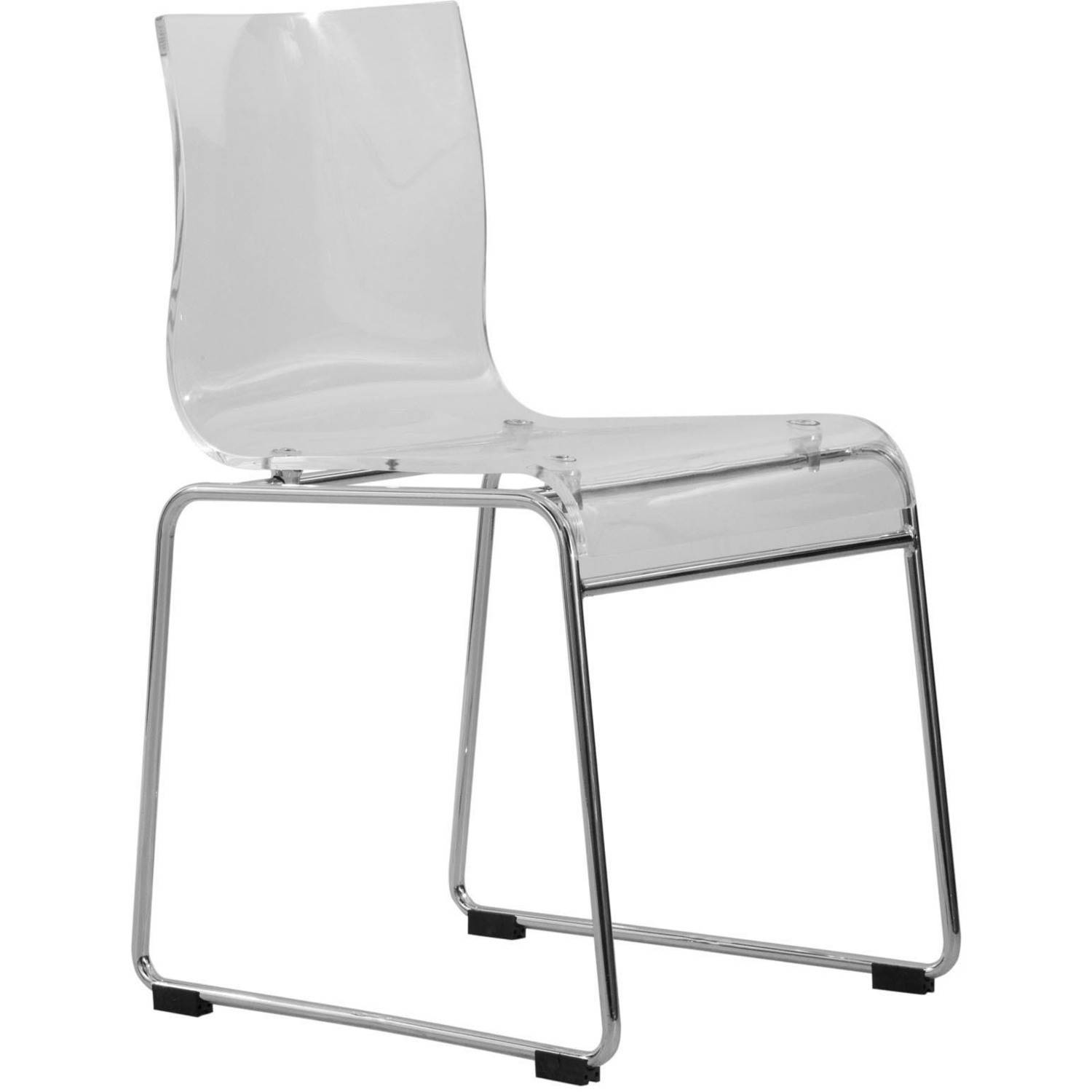 LeisureMod Lima Modern Acrylic Chair, Clear