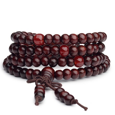 Men Women Unisex 108 Beads Praying Bracelet Wooden Beaded Bracelets Wristband Rosary Bangle Wristlet Color Wooden Rosary Wood