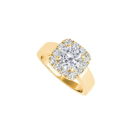 Yellow Gold Halo Engagement Ring with Cubic Zirconia - image 2 of 2