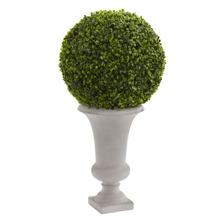 Nearly Natural 28 in. Boxwood Ball Topiary Artificial Plant in Urn (Indoor/Outdoor)