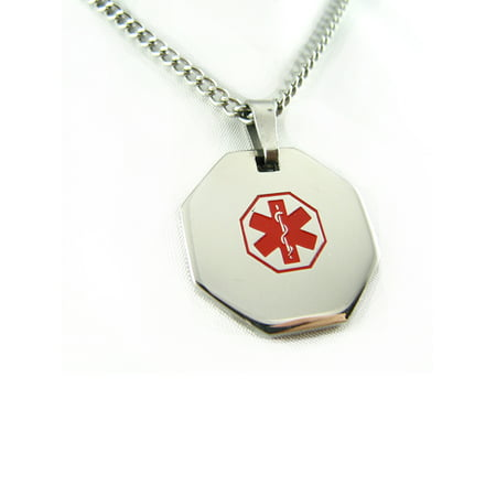 MyIDDr - Pre-Engraved Diabetes Type II Stainless Steel Medical Alert ID Necklace, Free ID Card Incd - USA Seller - Medical Jewelry Id Plate