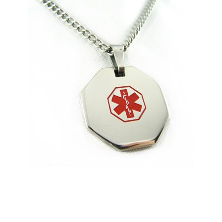 MyIDDr - Pre-Engraved Diabetes Type II Stainless Steel Medical Alert ID Necklace, Free ID Card Incd - USA Seller