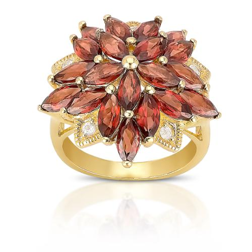 Dolce Giavonna  Gold Over Sterling Silver Garnet and Cubic Zirconia Flower Ring