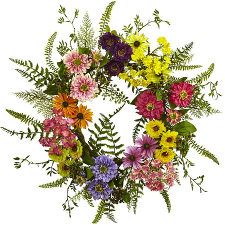 Nearly Natural Mixed Flower Wreath ()